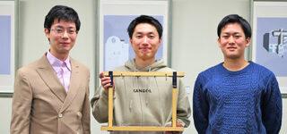 曹 淼 研究室:曹 淼 先生 × 針生 晃汰 さん(左)/浅野 起基 さん(右)